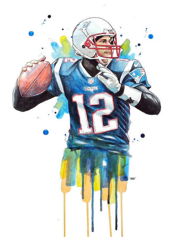Tom Brady Art Print featuring the painting Tom Brady, Patriots, Nfl by Wachira Kacharat