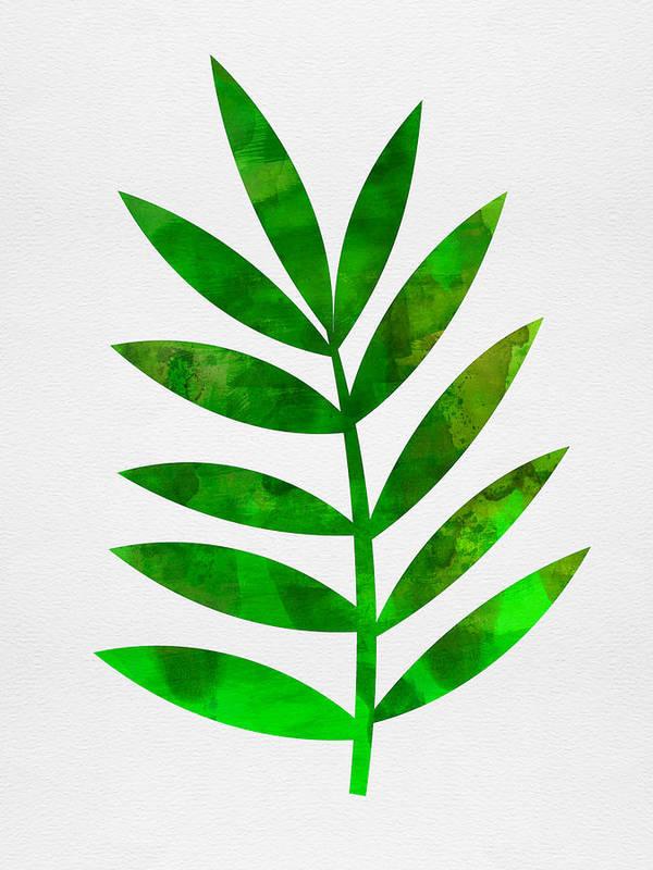 Tropical Leaf Art Print featuring the mixed media Tropical Leaf 3 by Naxart Studio
