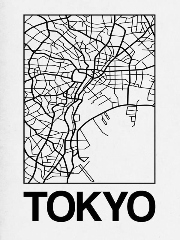 Tokyo Art Print featuring the digital art White Map Of Tokyo by Naxart Studio