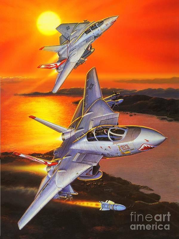 F-14 Tomcat Art Print featuring the painting Sundowner Tomcats by Stu Shepherd