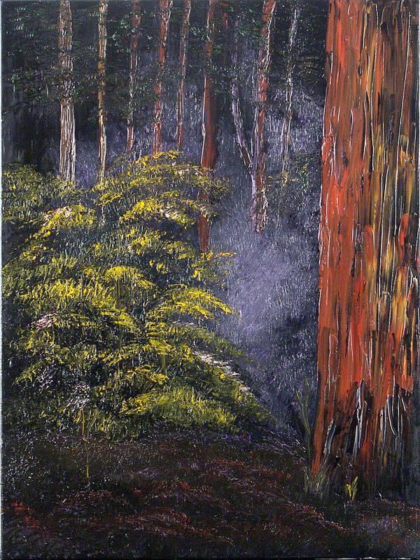 Landscape Art Print featuring the painting Fairies by Helene Lagoudakis