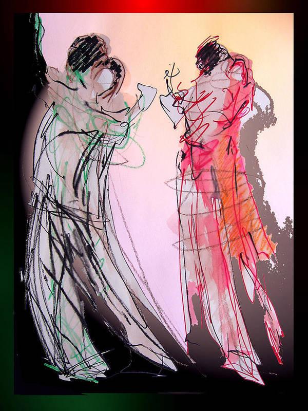 Argentine Tango Art Print featuring the painting Tango Night by Olga Gernovski