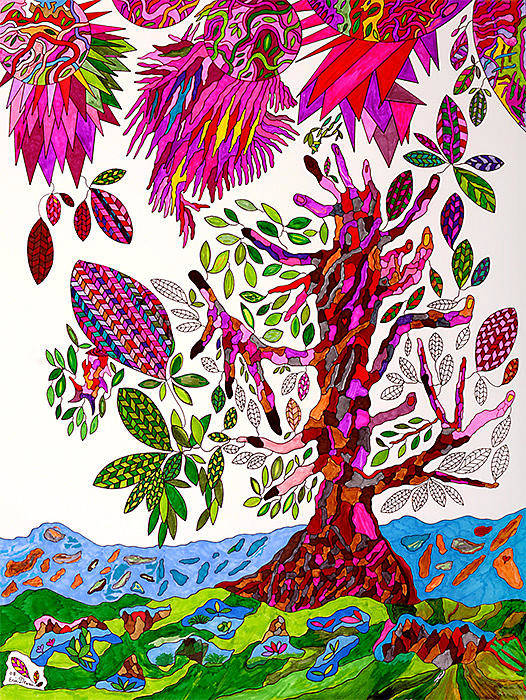 Tree Art Print featuring the drawing From Heaven To Earth by Eric Devan