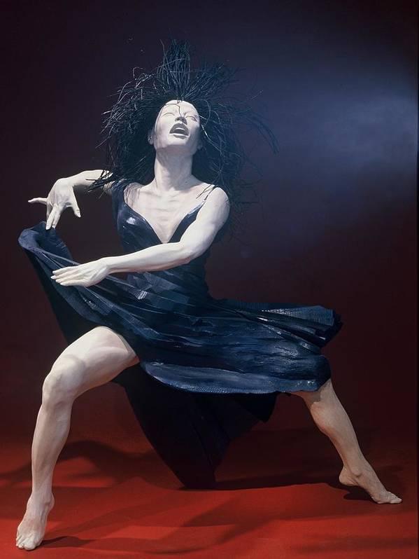 Dance Art Print featuring the sculpture Blue Dancer Front View by Gordon Becker