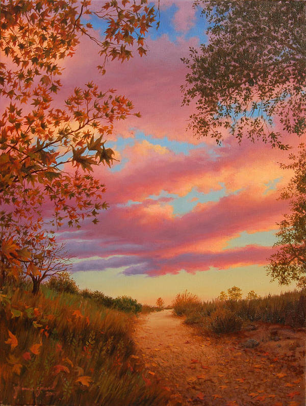 Sunset Art Print featuring the painting Solitude by Johanna Girard