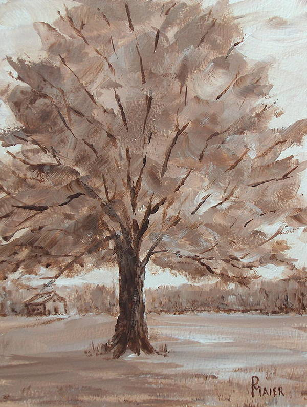 Tree Art Print featuring the painting There's A Tree by Pete Maier