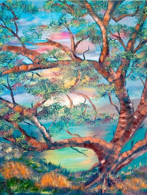 Original Art Print featuring the painting Misty Oak by Mikki Alhart