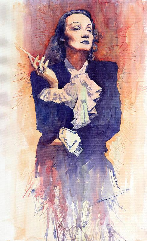 Watercolour Art Print featuring the painting Marlen Dietrich by Yuriy Shevchuk