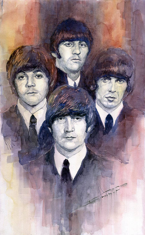 Watercolor Art Print featuring the painting The Beatles 02 by Yuriy Shevchuk