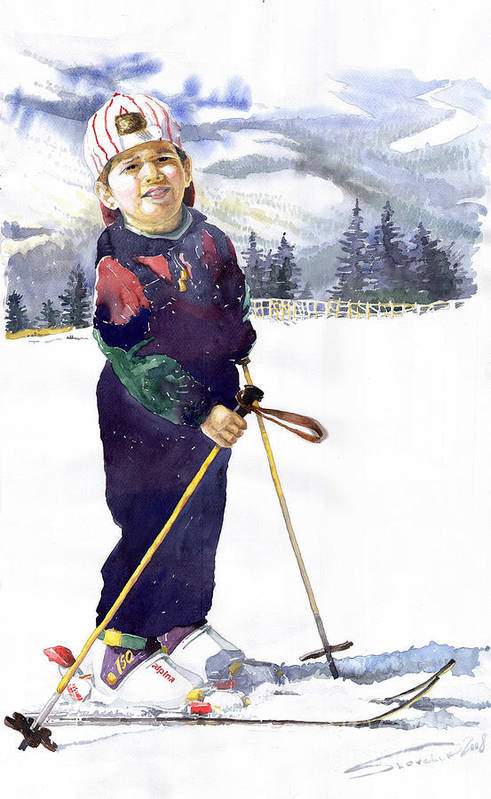 Watercolor Watercolour Figurative Ski Children Portret Realism Art Print featuring the painting Denis 03 by Yuriy Shevchuk