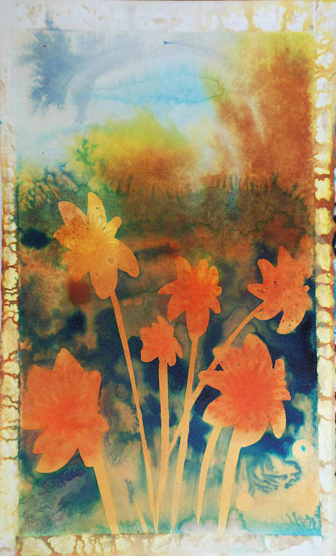 Flowers Bright Free Loose Blue Yellow Green Red Orange Art Print featuring the painting Fire Storm In The Wild Flower Meadow by Amy Bernays