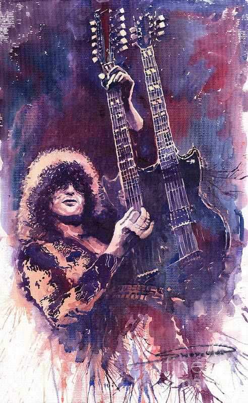 Watercolour Print featuring the painting Jimmy Page by Yuriy Shevchuk