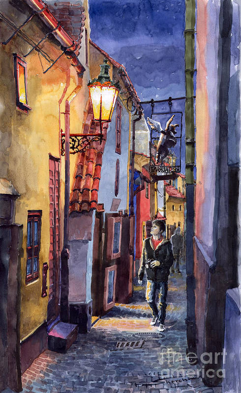 Goldenline Print featuring the painting Prague Old Street Golden Line by Yuriy Shevchuk