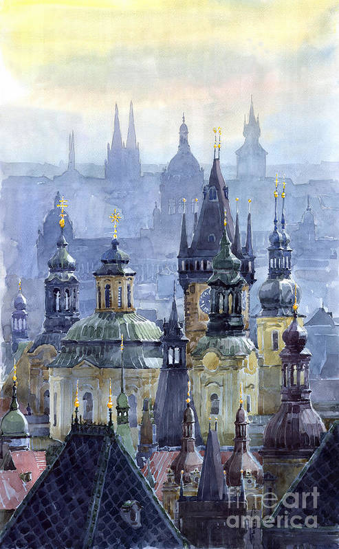 Architecture Art Print featuring the painting Prague Towers by Yuriy Shevchuk