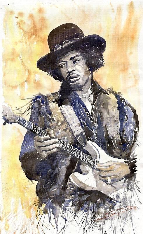 Watercolour Art Print featuring the painting Rock Jimi Hendrix 02 by Yuriy Shevchuk