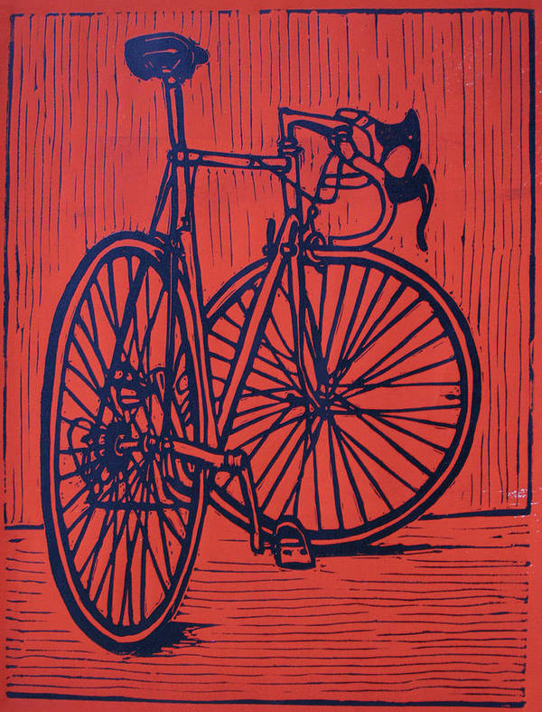 Bike Print featuring the drawing Bike 4 by William Cauthern