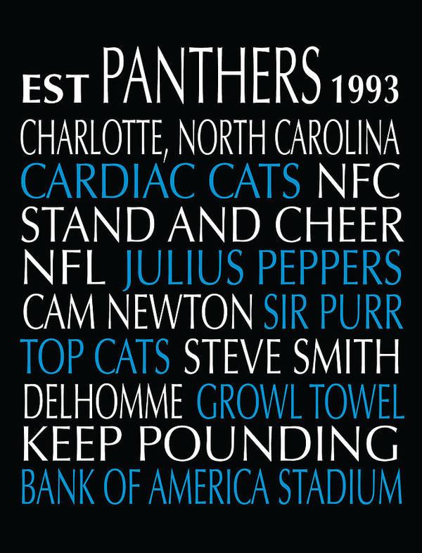 Carolina Art Print featuring the digital art Carolina Panthers by Jaime Friedman
