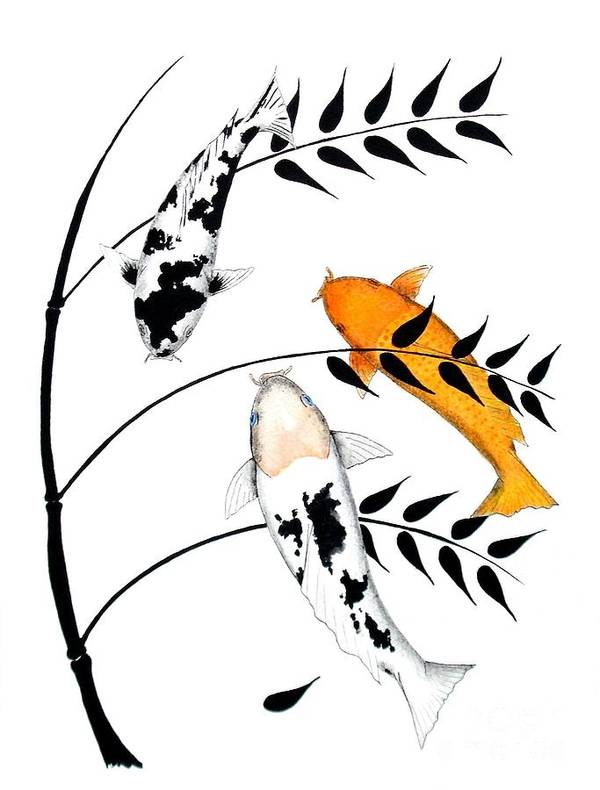 Koi.japanese.japan.kohaku.sanke.carp.fish.gold.china.lucky.feung.shui.tancho.ogon.kawarimono.ikebana.rikka.shoka. Art Print featuring the painting Koi Utsurimono Yellow Golden Ogon Bekko And Bamboo  by Gordon Lavender