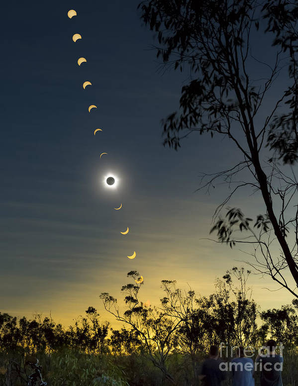 Eclipse Print featuring the photograph Solar Eclipse Composite, Queensland by Philip Hart