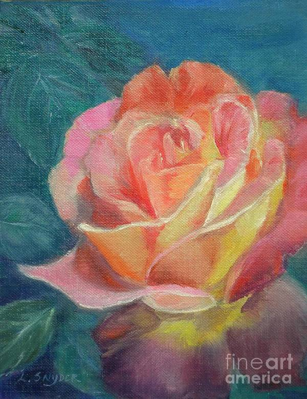 Rose Art Print featuring the painting Summer Bloom 1 by Liz Snyder