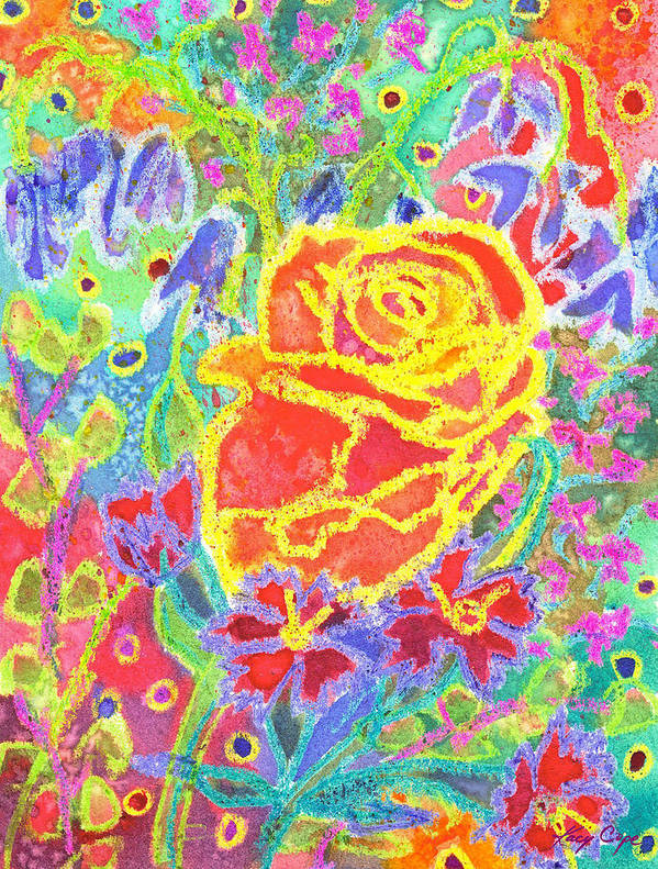 Rose Art Print featuring the painting Yellow Rose Bouquet by Kacy Cope