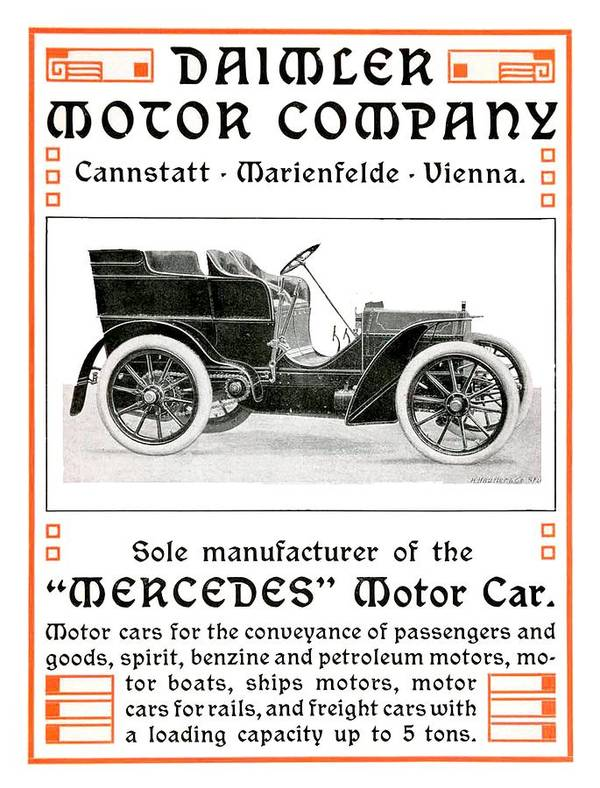 1904 Art Print featuring the digital art 1904 - Daimler Motor Company Mercedes Advertisement - Color by John Madison