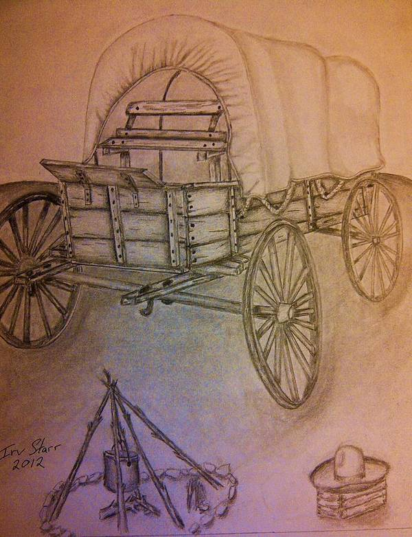 South West Western Plains Open Range Camp Fire Covered Wagon Cowboy Hat Wheels Fire Outdoors Pioneer Art Print featuring the drawing Covered Wagon by Irving Starr