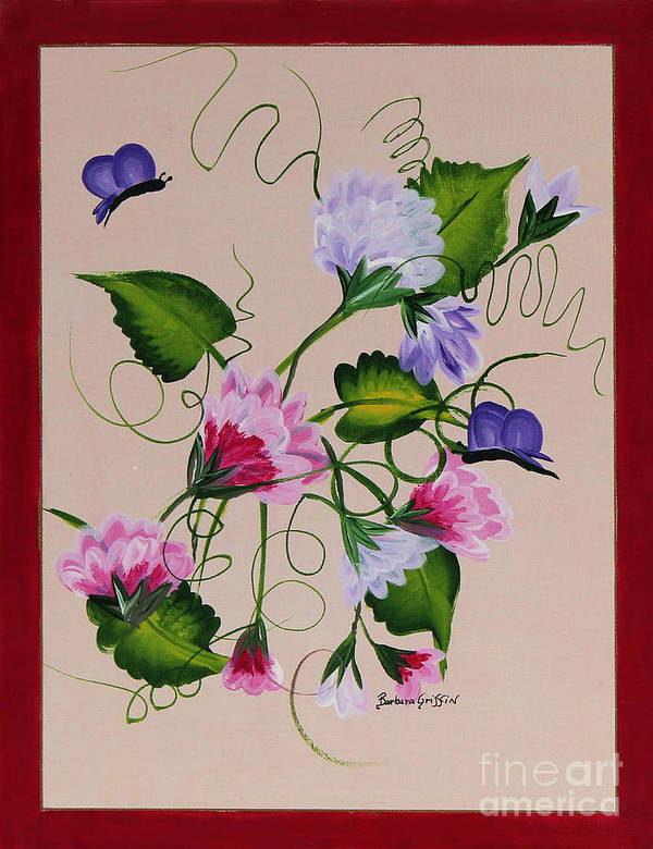 Barbara Griffin Art Print featuring the painting Sweet Peas And Butterflies by Barbara Griffin