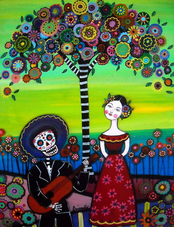 Feliz Print featuring the painting Serenata by Pristine Cartera Turkus
