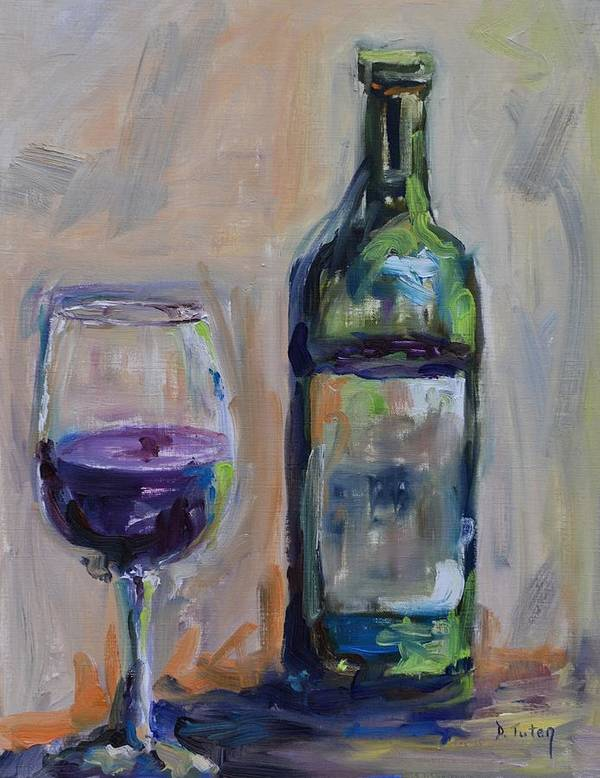 Wine Art Print featuring the painting A Good Pour by Donna Tuten