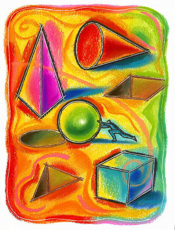 Achieve Achiever Destination Fit Goal Goals Integration Logic Logical Move Objective Objectives Place Placement Placing Problem Solving Prospect Prospects Push Pushing Reason Reasoning Shape Shapes Struggle Struggling Art Print featuring the painting Achiever by Leon Zernitsky