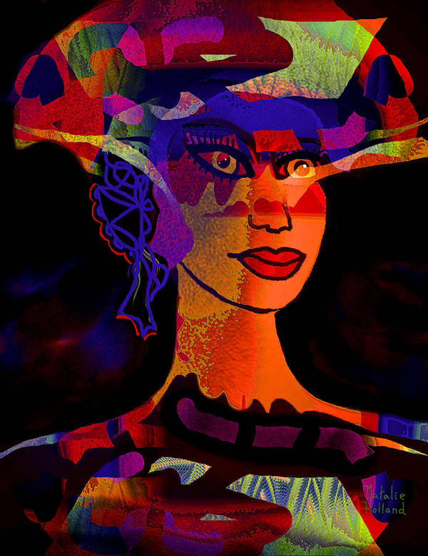 Face Art Print featuring the mixed media Adelita by Natalie Holland