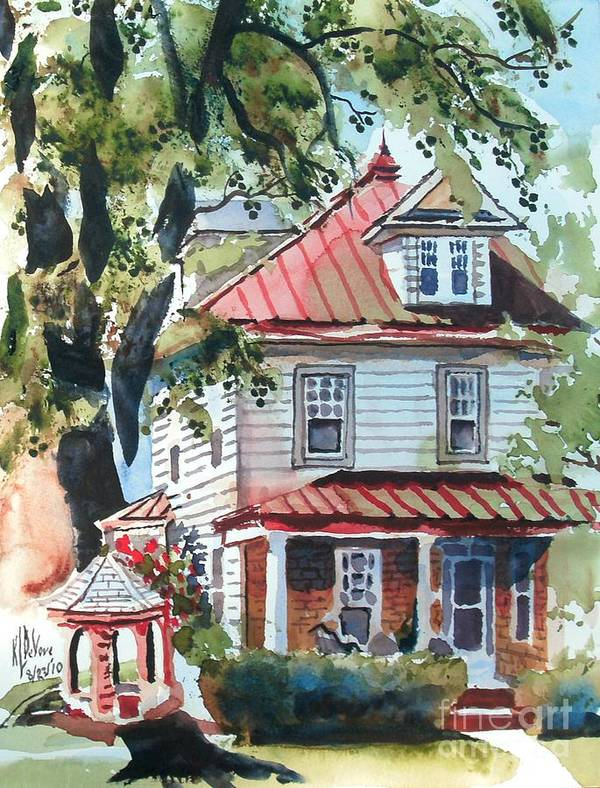American Home With Children's Gazebo Art Print featuring the painting American Home With Children's Gazebo by Kip DeVore