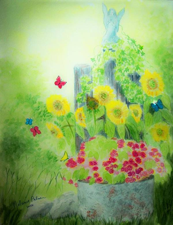 Angel Art Print featuring the painting Angel With Butterflies And Sunflowers by Melanie Palmer