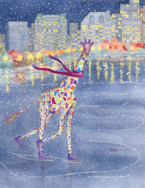 Giraffe Art Print featuring the painting Annabelle On Ice by Rhonda Leonard