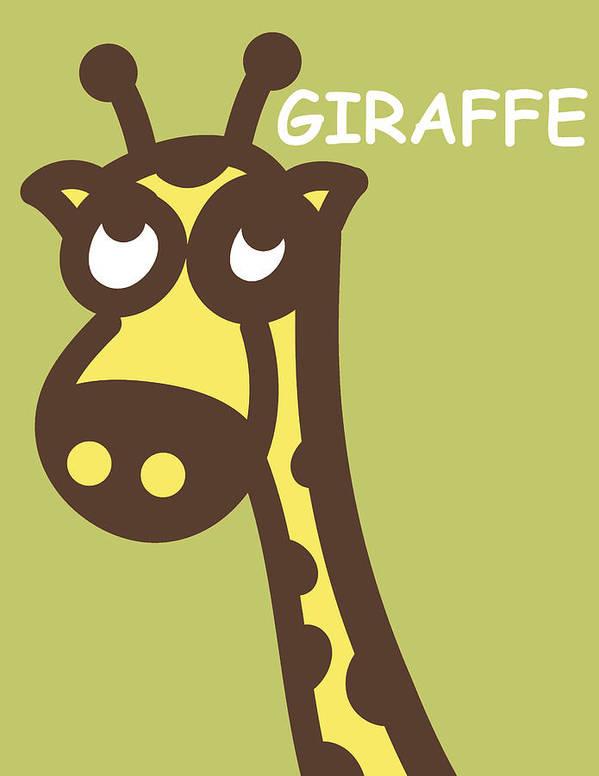 Giraffe Print featuring the digital art Baby Giraffe Nursery Wall Art by Nursery Art