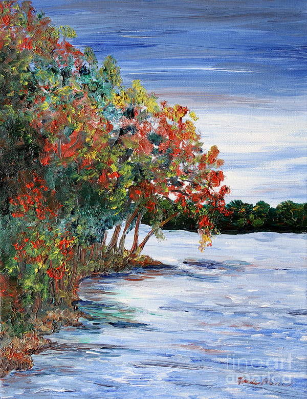 Fall Art Print featuring the painting Back Waters by Linda Steine