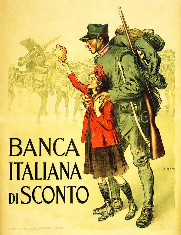 Poster Art Print featuring the drawing Banca Italiana Di Sconto, 1917 by Enrico della Lionne