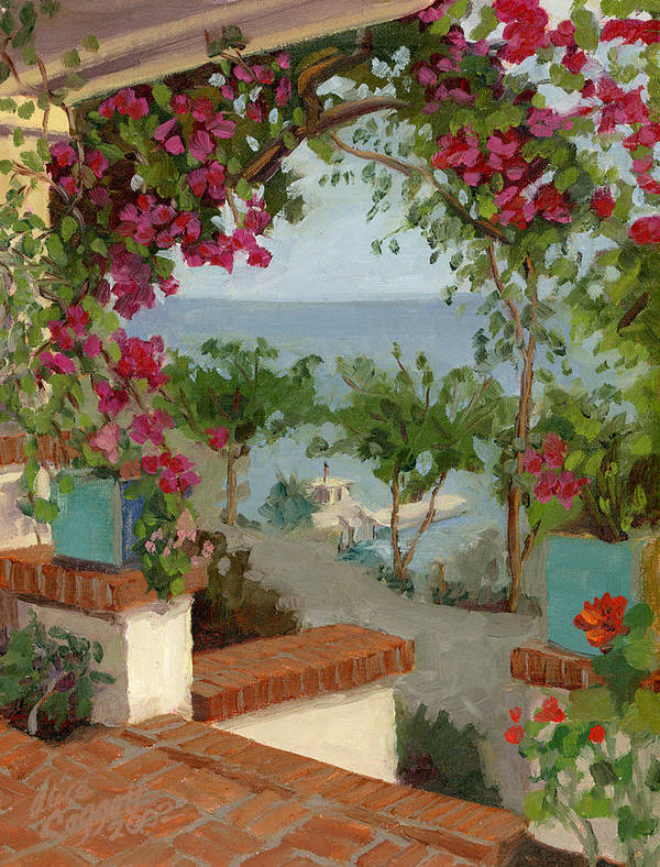 Bougainvillea Art Print featuring the painting Banning House Bougainvillea by Alice Leggett