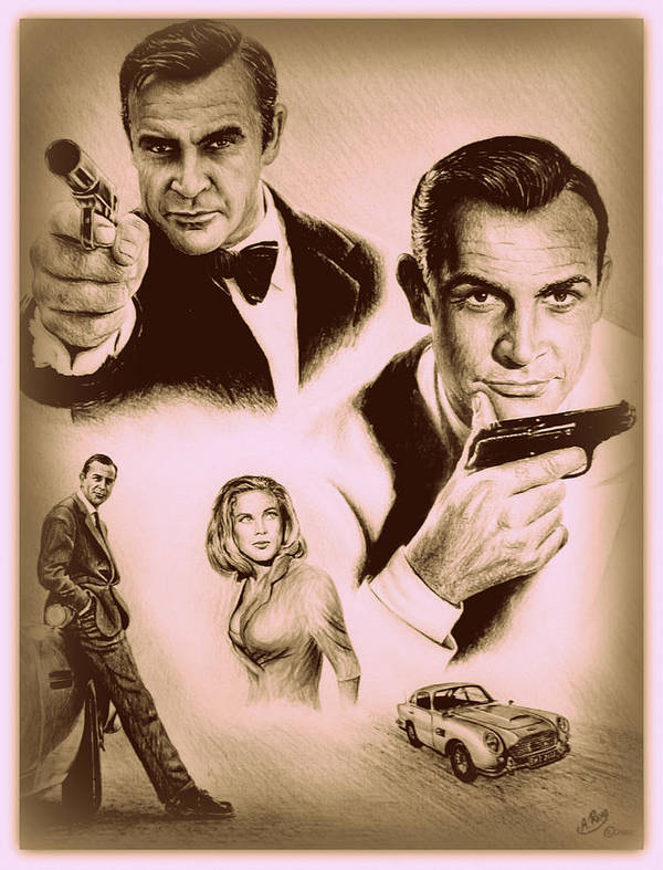 James Bond Print featuring the drawing Bond The Golden Years by Andrew Read
