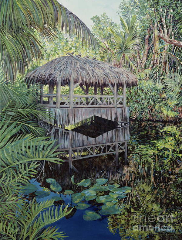 The Bonnet House Art Print featuring the painting Bridge To Paradise by Danielle Perry