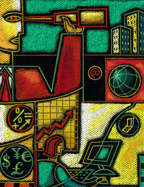 Business Budget Budgeting Building Business Business Finance Business People Businessman Businesswoman Busy Capitalism Cash Chart Collage Commerce Commitment Communicating Communication Communications Compensation Computer Connecting Corporate Corporation Creativity Currency Danger Daydreamer Dedication Describing Development Diagram Dollar Dollarbill Dollars Drawing Earth Ebusiness Ecommerce Economizing Edifice Endangering Enterprise Euro Executive Art Print featuring the painting Business by Leon Zernitsky