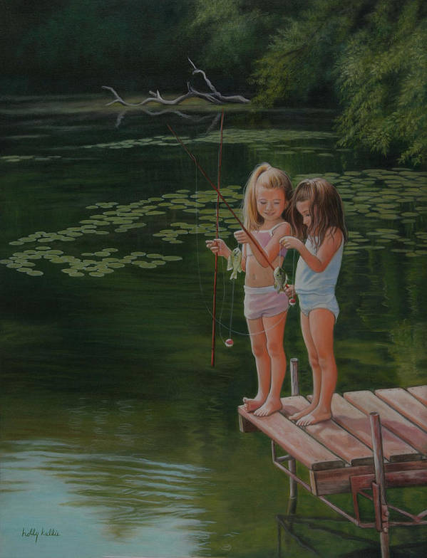 Realistic Art Print featuring the painting Catch Of The Day by Holly Kallie