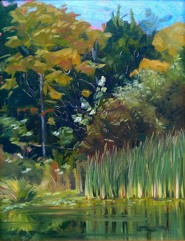 Lake Art Print featuring the painting Cattails by Lisa Frick