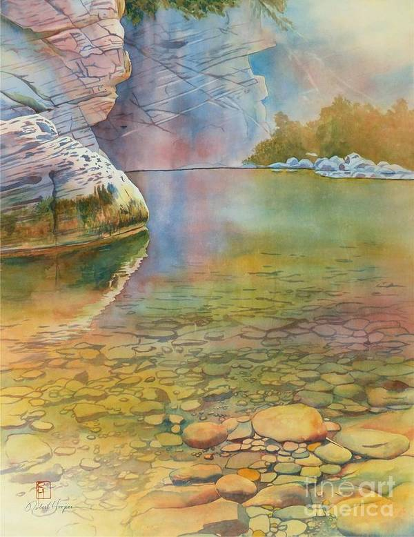 Watercolor Print featuring the painting Cave Springs by Robert Hooper