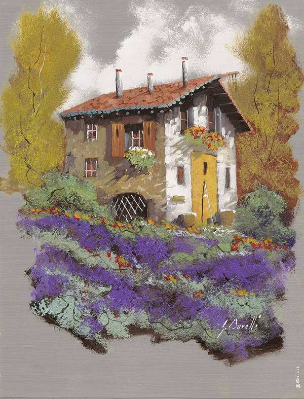 Landscape Art Print featuring the painting Cento Lavande by Guido Borelli