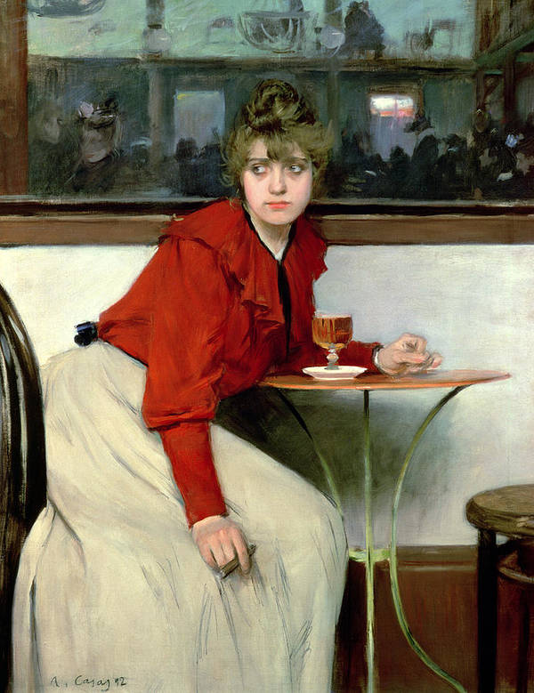 Glass; Drink; Mirror; Woman; Cigar; Waiting; Portrait; Female; Seated; Smoking; Red; White; Chignon Art Print featuring the painting Chica In A Bar by Ramon Casas i Carbo