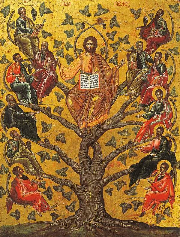Religions; Son Of God Art Print featuring the painting Christ And The Apostles by Unknown