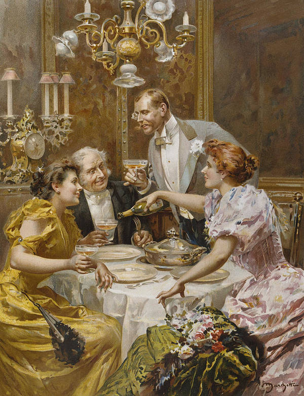 Male Art Print featuring the painting Christmas Eve Dinner In The Private Dining Room Of A Great Restaurant by Ludovico Marchetti