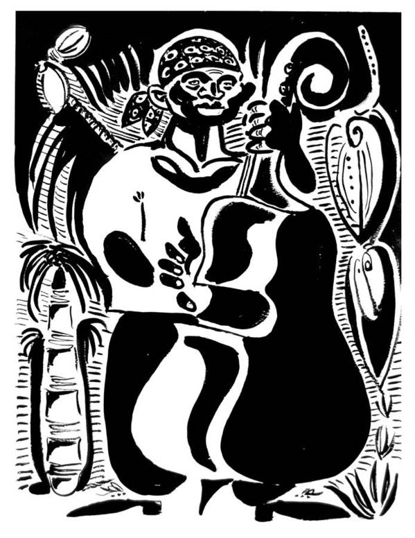 Cuba Music Dance Contra Bass Upright Bass Vaskovsky Vadim Art Print Ink Paper Watercolour Black White Carib Bandana Palm South Lino Cut Print featuring the drawing Contrabass by Vadim Vaskovsky